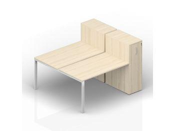 Составной стол 120(+40)х165х112 см на 2 рабочих места с приставными шкафами Tower — фото 1